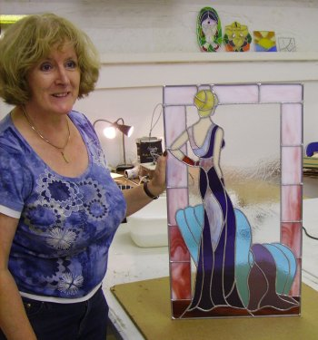 A copper foil stained glass panel made by Pat during the Vitreus Art Cornwall 5 day course