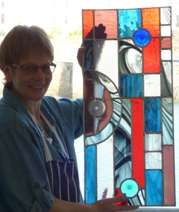 A finished piece made by a Cornwall stained glass course student