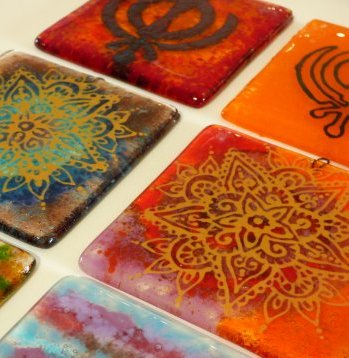 Fused glass coasters made by a Vitreus Art student