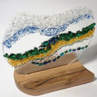 Way to the Sea fused glass art - click to view