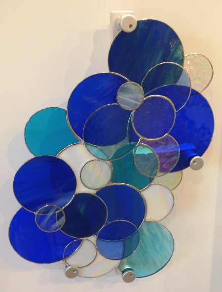 Blue themed White Caps - stained glass wall art by Vitreus Art