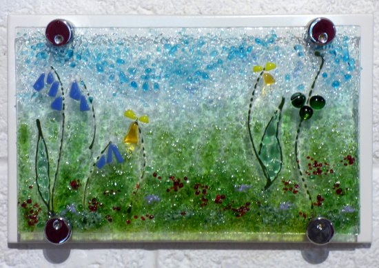 Wildflowers fused glass wall art by Jenny Timms of Vitreus Art