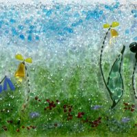 Wildflowers - fused glass wall art by Vitreus Art in Northants UK